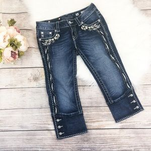 Miss Me Angel Wing Crystal Cropped Capri Jeans